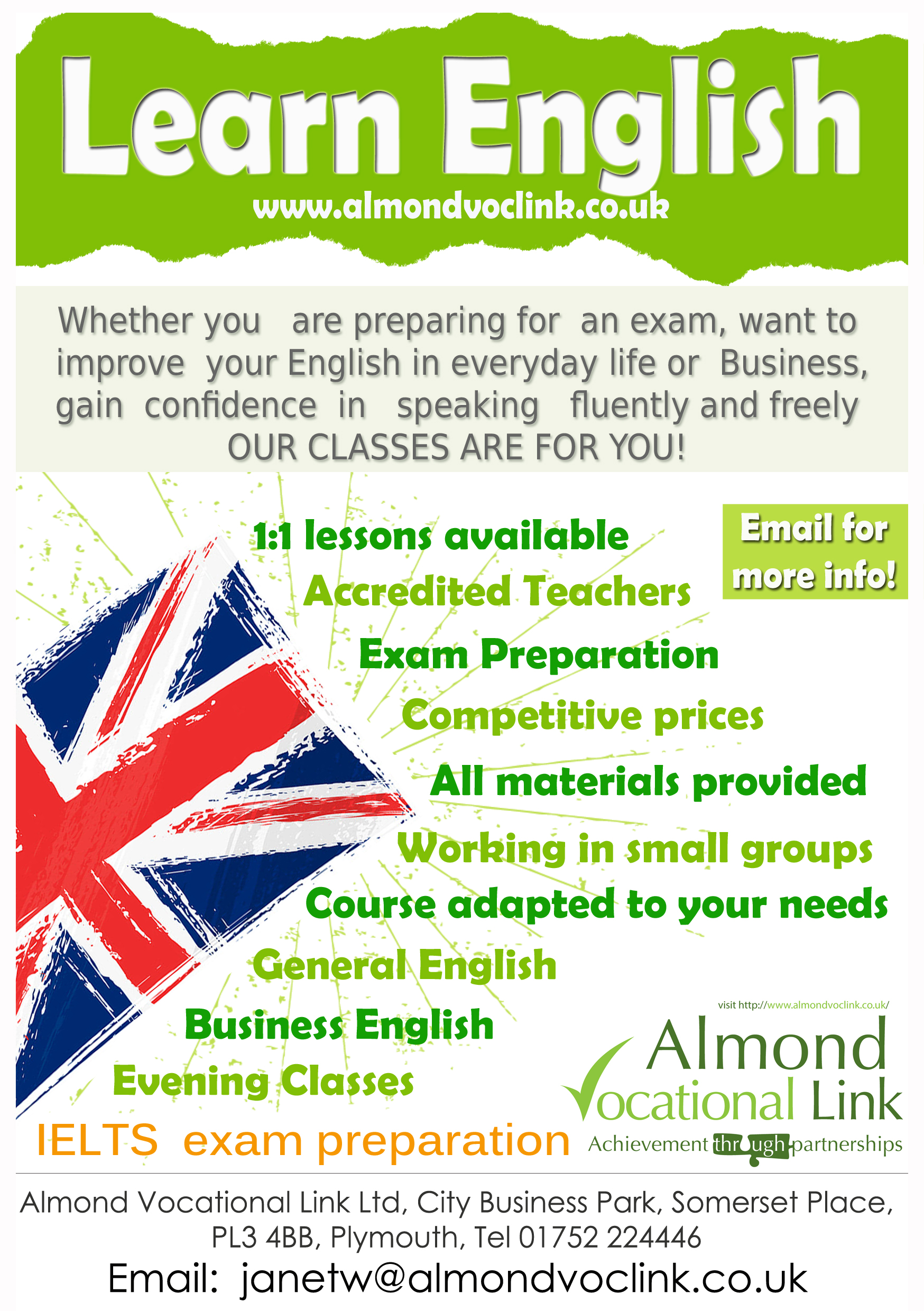 english language courses in plymouth almond vocational link english language courses in plymouth english language training poster almond vocational