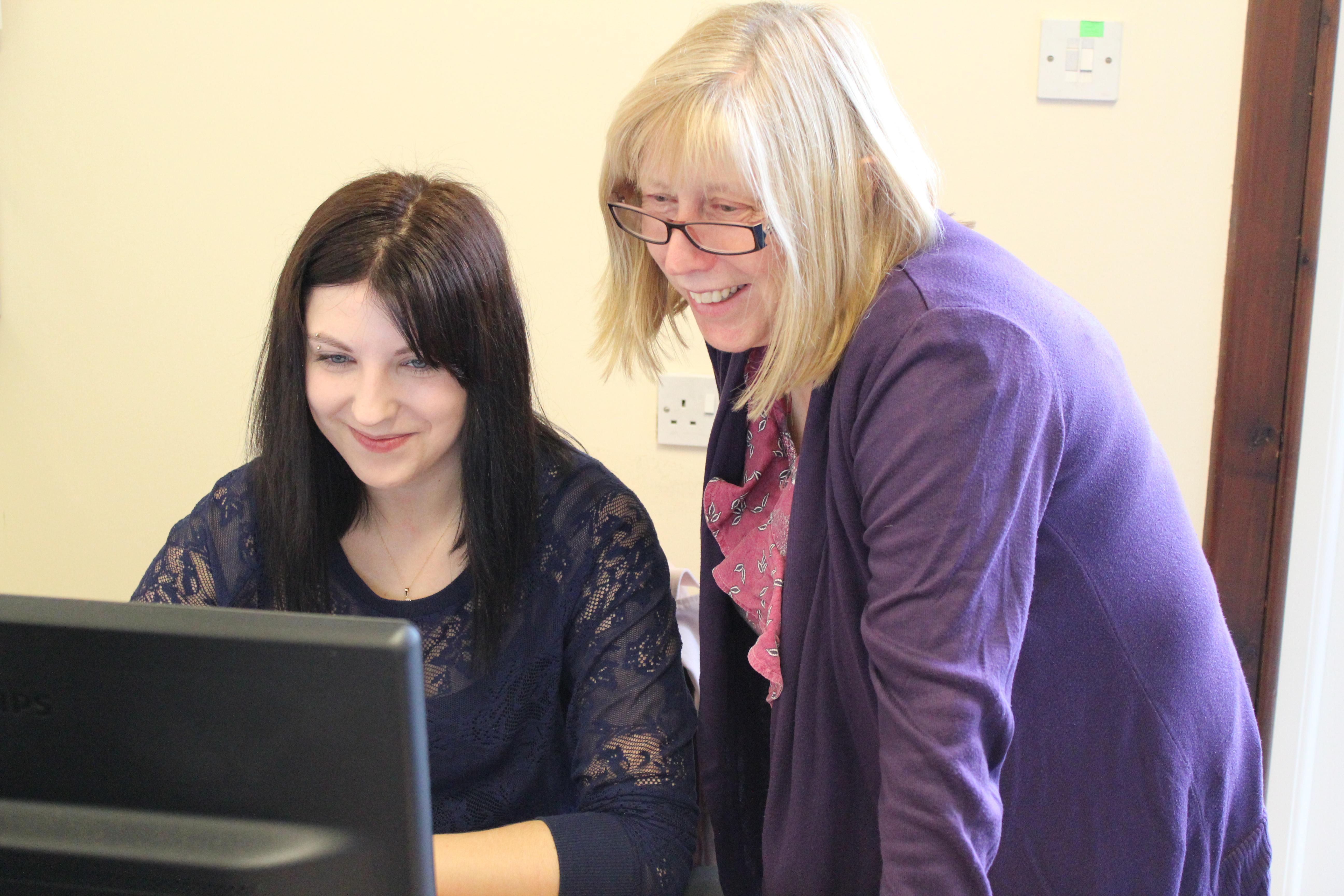Almond Vocational Link Project Manager Janet Wonnacott with Apprentice Gabriele
