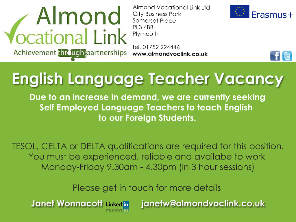 Teaching English as a Foreign Language Job Vacancy Plymouth UK, Almond Vocational Link