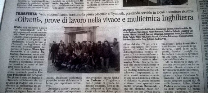 Almond Vocational Link's recent group from Olivetti school in their local newspaper | Monza, Italy