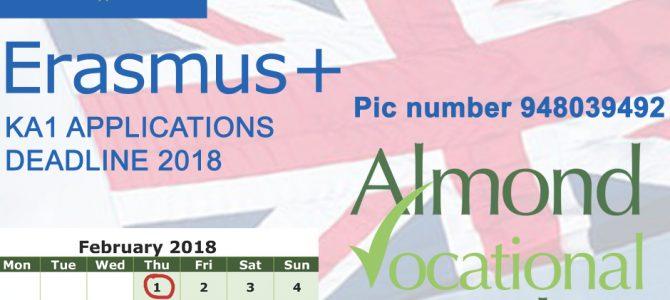 Erasmus+ KA1 Applications deadline 2018