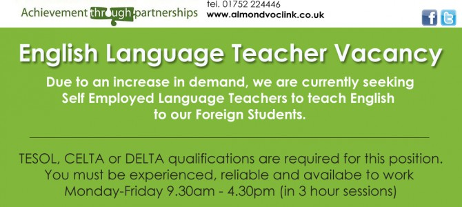 Teacher of English to Foreign Language Speakers – Job Vacancy in Plymouth